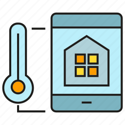 control, home, house, measure, sync, thermometer, thermostat icon