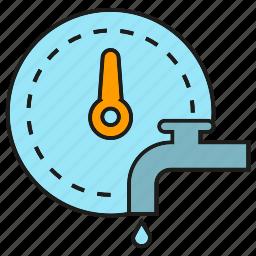 gauge, measure, meter, tap, water icon