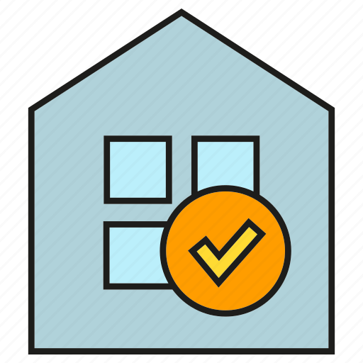 automation, check, home security, house, tick icon