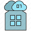 binary, cloud, data, digital, home, house icon
