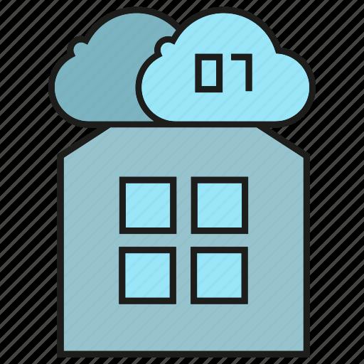 binary, cloud, data, digital, home, house icon
