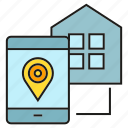 home, house, location, map, mobile, pin, sync icon