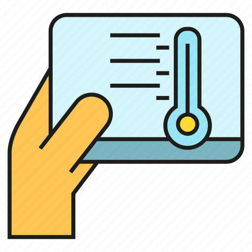 automation, hand, sensor, tablet, thermometer, thermostat icon