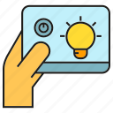 bulb, control, electricity, hand, light, remote, tablet icon