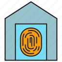 door, fingerprint, home, house, scan, security, sensor icon