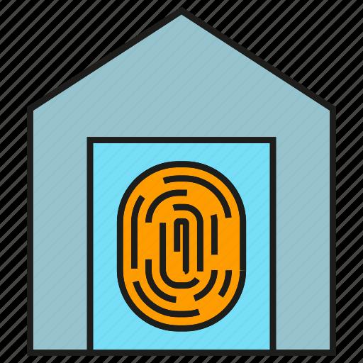 door, fingerprint, home, house, scan, security, sensor icon