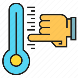 finger, hand, thermometer, thermostat icon