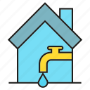 home, house, water tap icon
