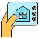 control, smart home, monitor, tablet, hand icon