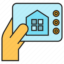 control, hand, monitor, smart home, tablet icon