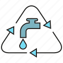 recycle, reserve, water tap icon