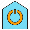 home automation, house, reset, smart home, start icon
