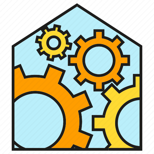 automation, cog, gear, home icon