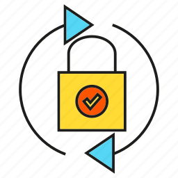 arrow, key, lock, protection, security icon
