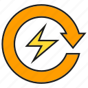 arrow, bolt, electricity, energy, power icon
