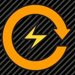 arrow, bolt, electricity, energy, power icon