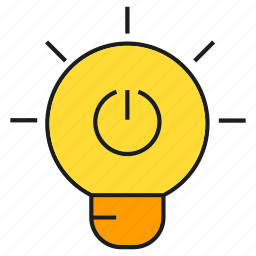 electricity, light bulb, reset icon