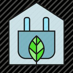 eco, electricity, energy, home, house, leaf, plug icon