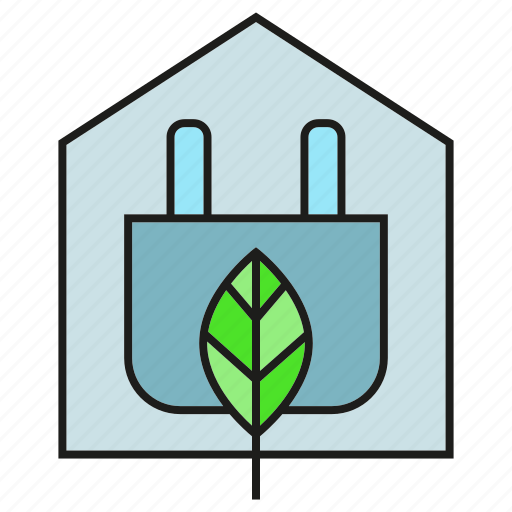 eco, electricity, energy, home, house, leaf, plug icon