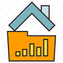 data, file, folder, home, house, smart home, stats icon