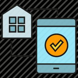 control, mobile, phone, remote, smart home, sync icon