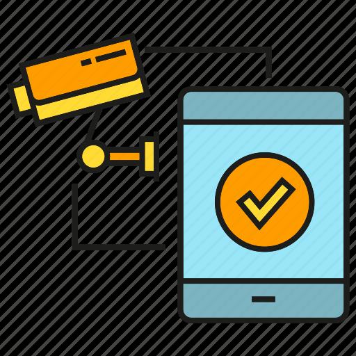 camera, cctv, control, phone, remote, security, sync icon