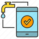 mobile, monitor, phone, remote, sync, tap, water icon
