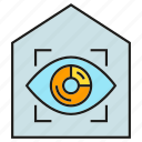 eye scan, home security, house, iris scan, security icon