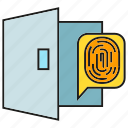 door, fingerprint, identification, open, protection, security icon