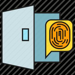 door, fingerprint, identification, open, protection, security icon