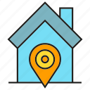 home, house, location, pin icon
