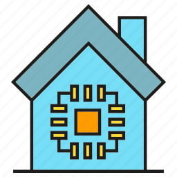 chip, home automation, house, microchip, smart home icon
