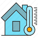 home, house, smart home, thermometer, thermostat icon