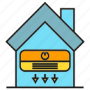 air conditioning, flow, home, home appliance, house icon