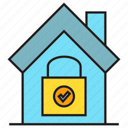 home, home security, house, key, lock, security icon