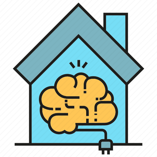 automation, brain, house, intelligence, plug, smart home icon