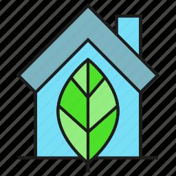 eco, home, house, leaf icon
