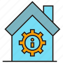 caution, cog, error, gear, home, house icon