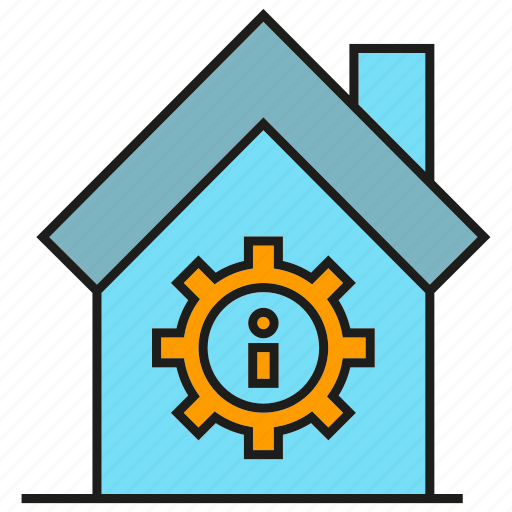 caution, cog, error, gear, home, house icon