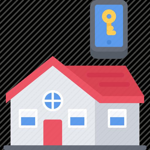 house, internet, key, phone, smart, things icon