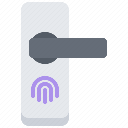 door, fingerprint, house, internet, knob, smart, things icon