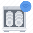 dishes, dishwasher, house, internet, plate, smart, things icon