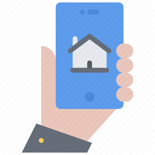 hand, house, internet, phone, smart, things icon