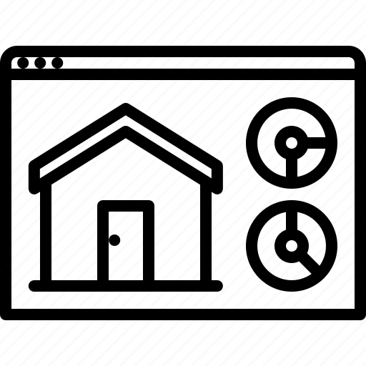 graph, house, internet, metric, smart, statistics, things icon