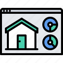 graph, house, internet, metric, smart, statistics, things icon