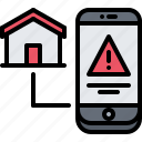 danger, house, internet, phone, smart, things, warning icon