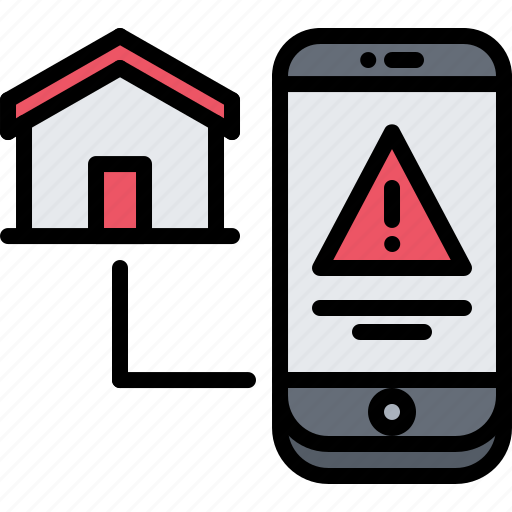 danger, house, internet, phone, smart, things, warning icon