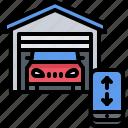 car, garage, house, internet, phone, smart, things icon