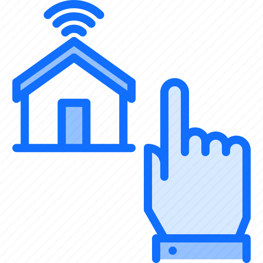 click, hand, house, internet, smart, things icon
