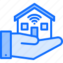 hand, house, internet, smart, things icon